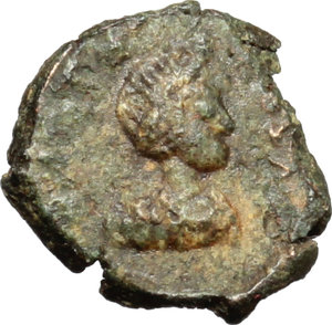 obverse: Ostrogothic Italy, Baduila (541-552).  AE 10 mm. imitating Baduila? Unofficial mint (?). Obv. Diademed draped and cuirassed bust (of Anastasius?) right. Rev. Monogram.  AE. g. 0.81  mm. 10.00  R. Rare. A very attractive and interesting example. Dark green patina. Good VF.