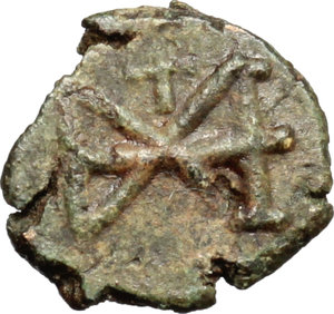 reverse: Ostrogothic Italy, Baduila (541-552).  AE 10 mm. imitating Baduila? Unofficial mint (?). Obv. Diademed draped and cuirassed bust (of Anastasius?) right. Rev. Monogram.  AE. g. 0.81  mm. 10.00  R. Rare. A very attractive and interesting example. Dark green patina. Good VF.