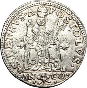 Ancona. Paolo IV (1555-1559). Testone.    M. 26/29. Berm. 1045. AG. g. 9.39  mm. 30.00    qSPL.