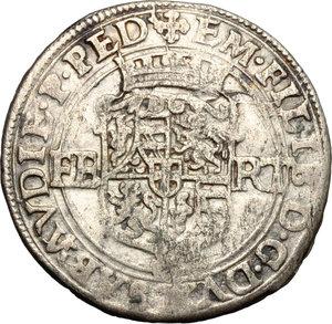 obverse: Casa Savoia. Emanuele Filiberto (1559-1580). Da quattro soldi o bianco di primo tipo, Aosta.    MIR Cudazzo 520ab. MI. g. 4.48  mm. 28.00    BB+.