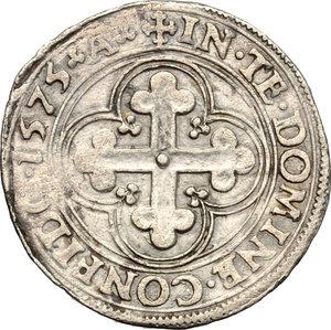 reverse: Casa Savoia. Emanuele Filiberto (1559-1580). Da quattro soldi o bianco di primo tipo, Aosta.    MIR Cudazzo 520ab. MI. g. 4.48  mm. 28.00    BB+.