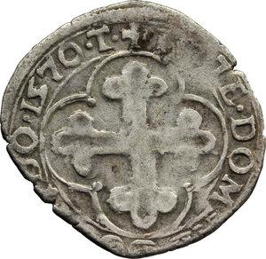 reverse: Casa Savoia. Emanuele Filiberto Duca (1559-1580). Soldo II tipo 1570.    MIR 534. MI.    NC.  qBB/BB.