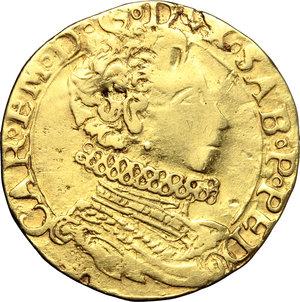 obverse: Casa Savoia. Carlo Emanuele I (1580-1630). Doppia di II tipo 1584 M G.    MIR Cudazzo 579f. AU. g. 6.37   RR. Questa tipologia si discosta dalle altre per il busto giovanile del sovrano. Schiacciature da conio, altrimenti BB.