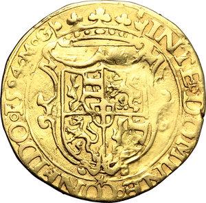 reverse: Casa Savoia. Carlo Emanuele I (1580-1630). Doppia di II tipo 1584 M G.    MIR Cudazzo 579f. AU. g. 6.37   RR. Questa tipologia si discosta dalle altre per il busto giovanile del sovrano. Schiacciature da conio, altrimenti BB.