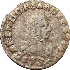 obverse: Regno di Sardegna. Carlo Emanuele III (1730-1773). Mezzo cagliarese 1736.     AE.    NC.  BB.