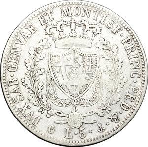 reverse: Regno di Sardegna. Carlo Felice (1821-1831). 5 lire 1826 Genova.    Pag. 70. Mont. 62. AG.      MB+/qBB.
