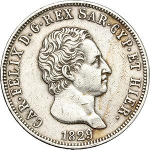 obverse: Regno di Sardegna. Carlo Felice (1821-1831). 5 lire 1829 Genova.    Pag. 76. Mont.68. AG.     Segnetti BB-BB+.