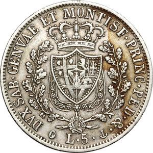reverse: Regno di Sardegna. Carlo Felice (1821-1831). 5 lire 1829 Genova.    Pag. 76. Mont.68. AG.     Segnetti BB-BB+.
