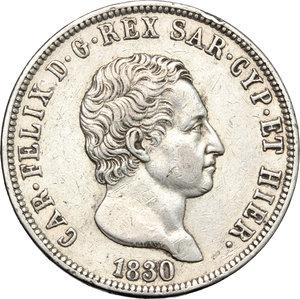 obverse: Regno di Sardegna. Carlo Felice (1821-1831). 5 lire 1830 Genova.    Pag. 78. Mont. 71. AG.     Colpetto e minimi segnetti Bel BB+.
