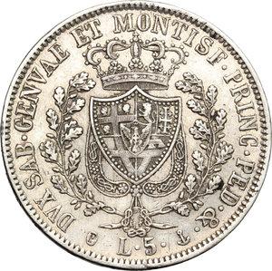 reverse: Regno di Sardegna. Carlo Felice (1821-1831). 5 lire 1830 Genova.    Pag. 78. Mont. 71. AG.     Colpetto e minimi segnetti Bel BB+.