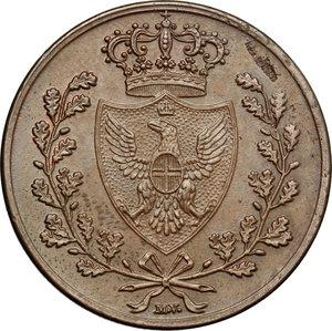 obverse: Regno di Sardegna. Carlo Felice (1821-1831). 5 centesimi 1826 Bologna.    Pag. -. Mont. 133. CU.    R. Minimo colpetto sul ciglio SPL.