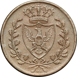 obverse: Regno di Sardegna. Carlo Felice (1821-1831). 3 centesimi 1826 Bologna.    Pag. -. Mont.137. CU.      Bel BB.