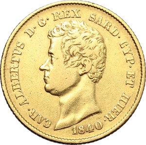 obverse: Regno di Sardegna. Carlo Alberto (1831-1849). 20 lire 1840 Torino.    Pag. 191. Mont. 61. AU.    R.  BB.