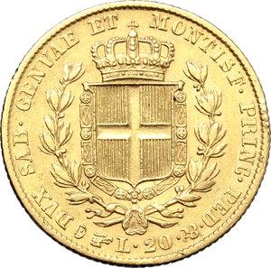 reverse: Regno di Sardegna. Carlo Alberto (1831-1849). 20 lire 1840 Torino.    Pag. 191. Mont. 61. AU.    R.  BB.
