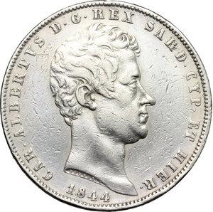obverse: Regno di Sardegna. Carlo Alberto (1831-1846). 5 lire 1844 Genova.    Pag. 255. Mont. 131. AG.     Colpetti e segnetti, altimenti BB.