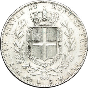 reverse: Regno di Sardegna. Carlo Alberto (1831-1846). 5 lire 1844 Genova.    Pag. 255. Mont. 131. AG.     Colpetti e segnetti, altimenti BB.