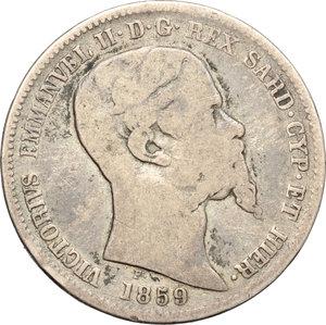 obverse: Regno di Sardegna. Vittorio Emanuele II  (1849-1861). Lira 1859 M.    Pag. 413. Mont. 87. AG.    R.  MB.