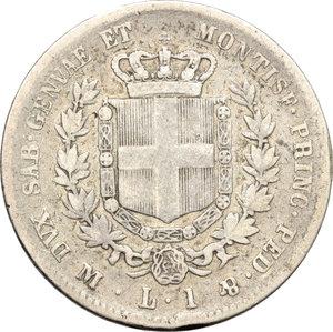 reverse: Regno di Sardegna. Vittorio Emanuele II  (1849-1861). Lira 1859 M.    Pag. 413. Mont. 87. AG.    R.  MB.