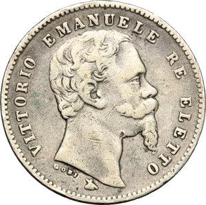 Re Eletto. Vittorio Emanuele II  (1859-1861). Lira 1860, mano con scettro.    Pag. 440. Mont. 116. AG.    RR.  qBB-BB.