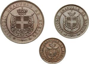 obverse: Re Eletto. Vittorio Emanuele II  (1859-1861). Lotto di 3 monete: 5, 2 e 1 centesimo 1859.    Pag. 445,446 e 447. Mont. 123,124 e 125. CU.      SPL-SPL+.