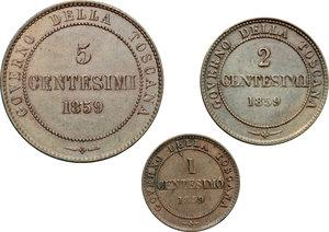 reverse: Re Eletto. Vittorio Emanuele II  (1859-1861). Lotto di 3 monete: 5, 2 e 1 centesimo 1859.    Pag. 445,446 e 447. Mont. 123,124 e 125. CU.      SPL-SPL+.