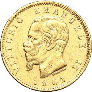 obverse: Regno di Italia. Vittorio Emanuele II  (1861-1878). 20 lire 1861 T ribattuta su F.    Pag. 455 var. Mont. 130. AU.    RR. Segnetti BB.