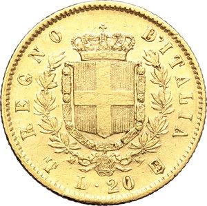 reverse: Regno di Italia. Vittorio Emanuele II  (1861-1878). 20 lire 1861 T ribattuta su F.    Pag. 455 var. Mont. 130. AU.    RR. Segnetti BB.
