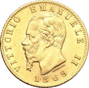obverse: Regno di Italia. Vittorio Emanuele II  (1861-1878). 20 lire 1869 T.    Pag. 463. Mont. 139. AU.      qSPL-SPL.