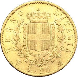 reverse: Regno di Italia. Vittorio Emanuele II  (1861-1878). 20 lire 1869 T.    Pag. 463. Mont. 139. AU.      qSPL-SPL.
