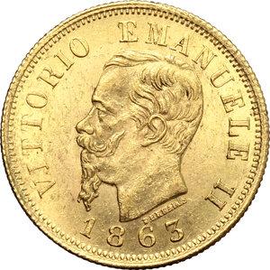 obverse: Regno di Italia. Vittorio Emanuele II  (1861-1878). 10 lire 1863.    Pag. 477a. Mont. 156. AU.   mm. 19.00    Bel BB.