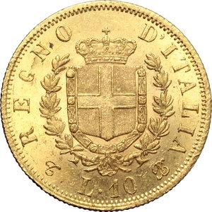 reverse: Regno di Italia. Vittorio Emanuele II  (1861-1878). 10 lire 1863.    Pag. 477a. Mont. 156. AU.   mm. 19.00    Bel BB.