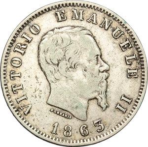 obverse: Regno di Italia. Vittorio Emanuele II  (1861-1878). Lira 1863 Milano.    Pag. 516. Mont. 208. AG.    R.  qBB/BB+.