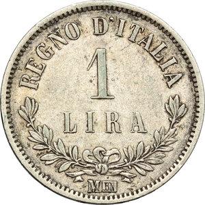 reverse: Regno di Italia. Vittorio Emanuele II  (1861-1878). Lira 1863 Milano.    Pag. 516. Mont. 208. AG.    R.  qBB/BB+.