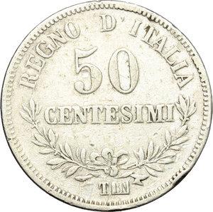 Regno di Italia. Vittorio Emanuele II  (1861-1878). 50 centesimi 1867 Torino.    Pag. 533. Mont. 220. AG.     Colpetto sul ciglio al R/ MB+/BB.