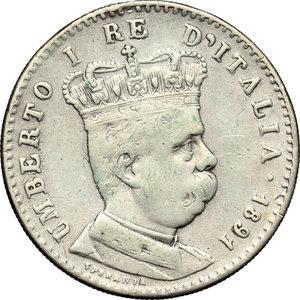obverse: Colonia Eritrea. Umberto I (1890-1896). Lira 1891.    Pag. 635. Mont. 85. AG.    NC. Traccia d appiccagnolo qBB-BB.