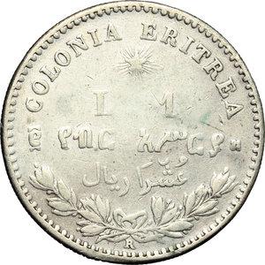 reverse: Colonia Eritrea. Umberto I (1890-1896). Lira 1891.    Pag. 635. Mont. 85. AG.    NC. Traccia d appiccagnolo qBB-BB.