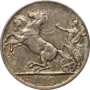 reverse: Regno di Italia. Vittorio Emanuele III (1900-1943). 10 lire 1927 **.    Pag. 692. AG.      qSPL.