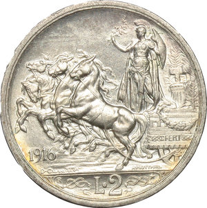 reverse: Regno di Italia. Vittorio Emanuele III (1900-1943). 2 lire 1916.    Pag. 739. AG.      qFDC/FDC.