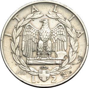 reverse: Regno di Italia. Vittorio Emanuele III (1900-1943). 2 lire 1936 A.XIV.    Pag. 754. Mont. 175. NI.    R.  qBB/BB.