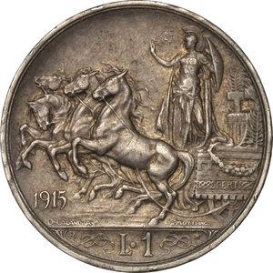reverse: Regno di Italia. Vittorio Emanuele III (1900-1943). 1 lira 1915.    Pag. 773. AG.    NC.  BB/SPL.