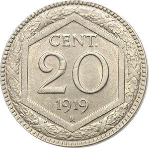 reverse: Regno di Italia. Vittorio Emanuele III (1900-1943). 20 centesimi 1919.    Pag. 851. NI.      qFDC.