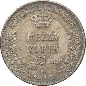 reverse: Somalia Italiana. Vittorio Emanuele III (1909-1925). Mezza rupia 1910.    Pag. 966. AG.      BB+.