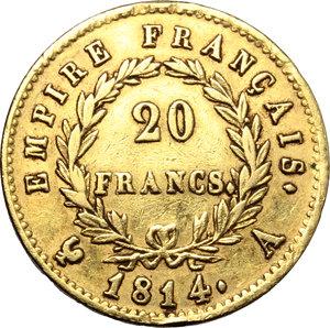 France. Napoleon (1804-1814).  20 francs 1814 A.   Fr. 511. AU.   mm. 21.00    VF.