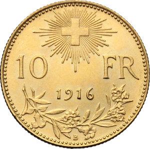 Switzerland.   10 francs 1916.   Fr. 504. AU.      Near UNC.