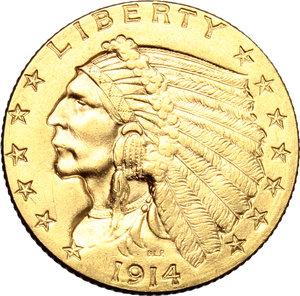 USA.   2,5 dollars 1914.   Fr. 120. AU.   mm. 17.00    Near EF.