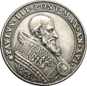obverse: Paolo III (1534-1549), Alessandro Farnese. Medaglia A. XVI, coniazione postuma.     AG.   mm. 40.00    SPL.