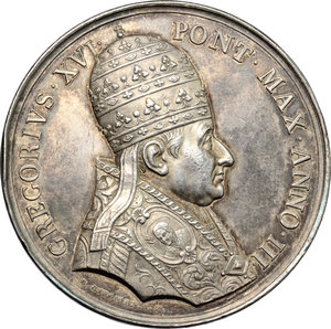 obverse: Gregorio XVI (1831-1846), Bartolomeo Alberto  Cappellari. Medaglia annuale A. III.    Bart. E. 833. AG.   mm. 43.00 Inc. G. Girometti. R. Colpetto sul ciglio qSPL.