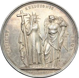 reverse: Gregorio XVI (1831-1846), Bartolomeo Alberto  Cappellari. Medaglia annuale A. III.    Bart. E. 833. AG.   mm. 43.00 Inc. G. Girometti. R. Colpetto sul ciglio qSPL.