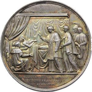 reverse: Pio IX  (1846-1878), Giovanni Mastai Ferretti. Medaglia annuale, A. X.  D/ PIVS IX PONTIFEX MAXIMVS ANNO X. Busto a destra con berrettino e piviale. R/ Il Pontefice benedice un ammalato. In esergo, AD SANCTI SPIRITVS LVE LABORANTES/ INVISIT XI KAL SEPT/ A MDCCCLIV. Bart.E. 855. Bart. X-1. AR.   mm. 43.50 Inc. Girometti. R. Colpetti al ciglio. qSPL.