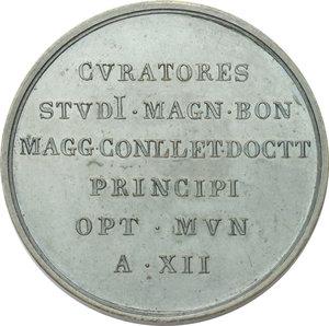 reverse: Bologna. Pio IX  (1846-1878), Giovanni Mastai Ferretti. Medaglia A. XII, emessa dall Università di Bologna per la visita del Papa.  D/ Busto a sinistra con berrettino, mozzetta e stola. R/ CVRATORES/ STVDI. MAGN. BON/ MAGG CONLLET DOCTT/ PRINCIPI/ OPT. MVN/ A. XII. Bart. XII-8. AE.   mm. 50.50 Inc. Cerbara.   FDC.